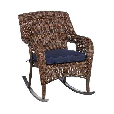 outside wicker rockers vintage for sale brown stainless steel outdoor patio rocking chair with standard midnight navy blue cushions