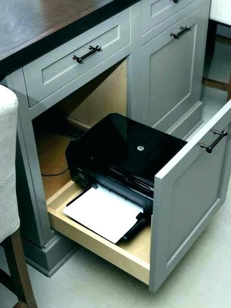 desk for printer white with drawer