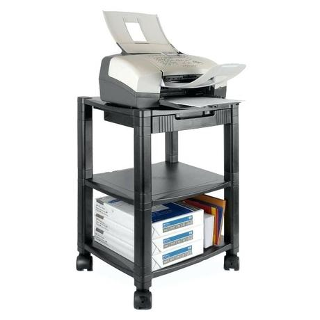desk for printer stand with storage side 3 shelf fax black