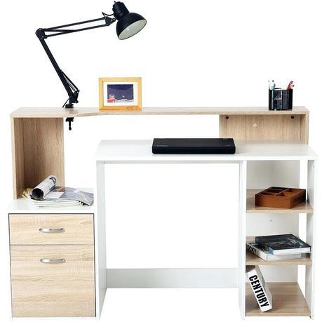 desk for printer office storage wooden computer table modern home writing workstation furniture shelf rack w drawer shelves oak and white