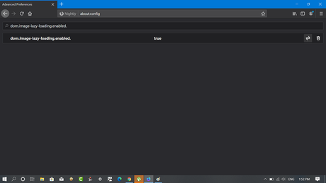 set firefox config value dom.image-lazy-loading.enabled from false to true