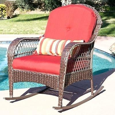 wicker outdoor rocker white patio red cushion resin home seating furniture garden