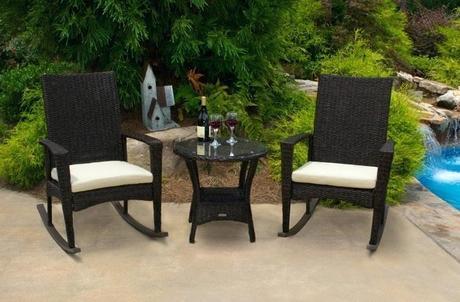 wicker outdoor rocker set rocking chair pecan