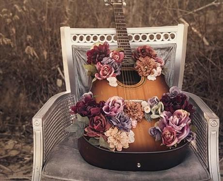 country western songs guitar with flowers