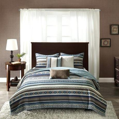 fair isle bedding set park full queen size quilt blue brown southwestern pattern 6 piece coverlets micro