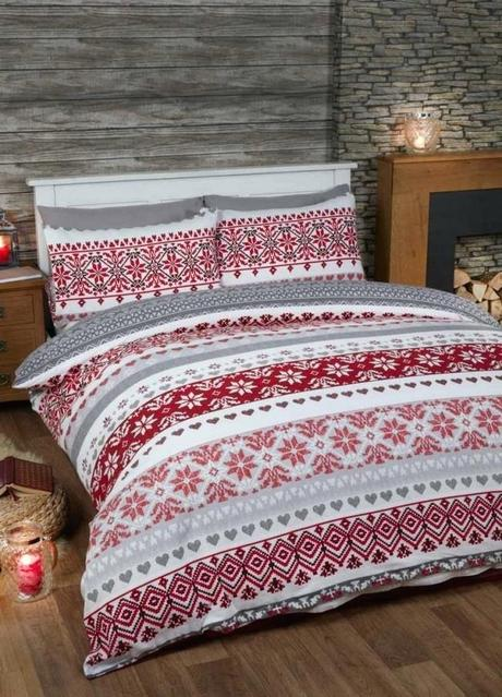 fair isle bedding gray duvet cover set red double
