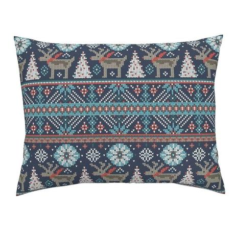 fair isle bedding brushed cotton holiday pillow sham festive blue by sateen