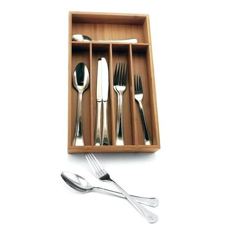 bamboo design flatware everyday piece set with organizer service for 8