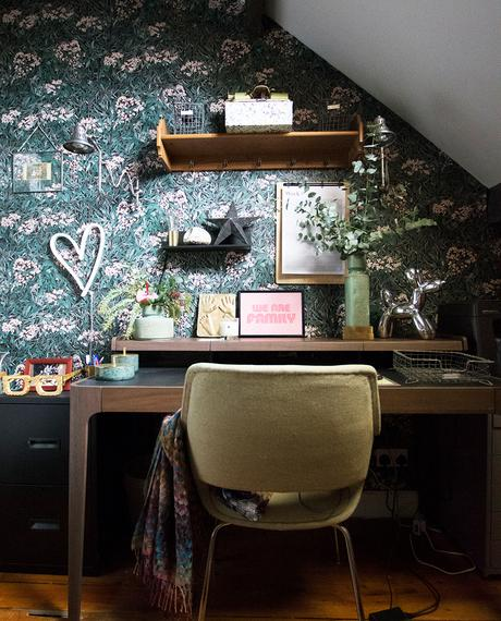Quirky home office decor with pattered wallpaper