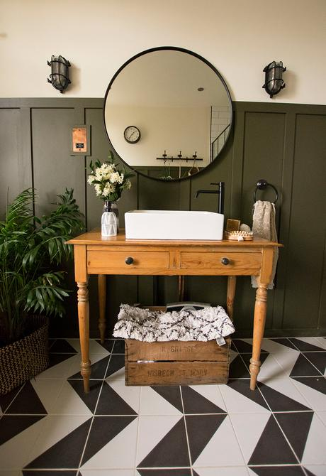 Bathroom inspiration with monochrome patterned floor tiles
