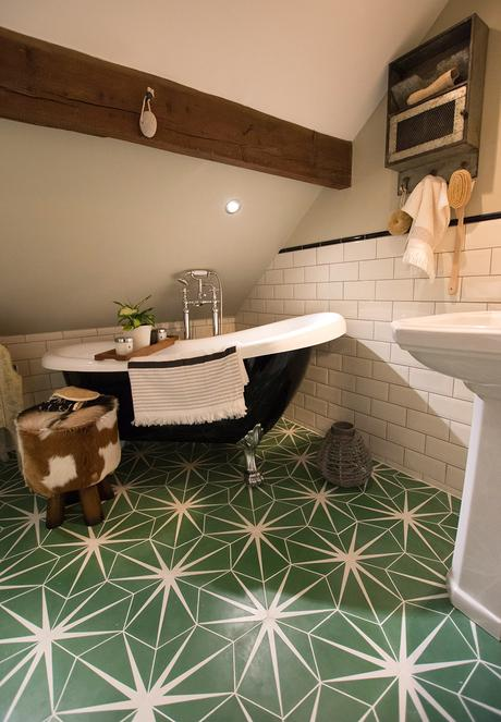 Nicola Broughton house tour - Beautiful bathroom decor with patterned green bathroom floor tiles