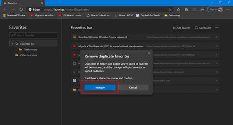remove duplicate favorite setting page
