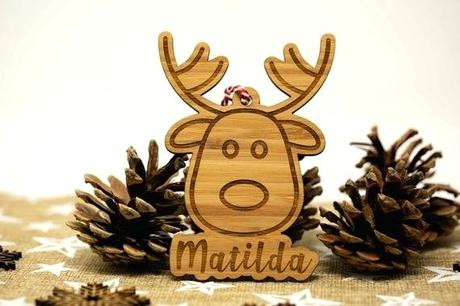 deer xmas decorations decorating with plants apartment personalised decoration reindeer engraved tree family wood ornament