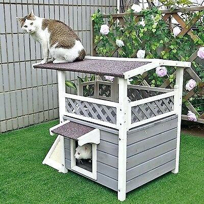 outdoor pet furniture friendly patio cat houses condo shelter wood habitats weatherproof