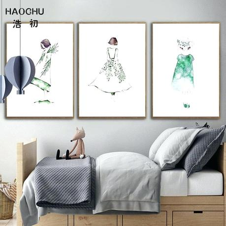 modern kids decor decorating ideas for halloween us off girl poster cute wall art print fairy lady cartoon canvas painting lovely picture baby room in