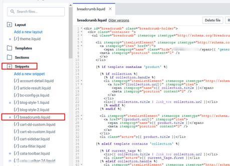 Fix Shopify Breadcrumbs – data-vocabulary.org Schema deprecated