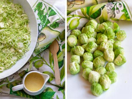 Shaved Brussel Sprout Salad with Creamy Mustard Dressing