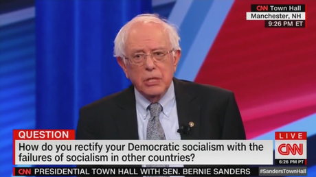 Bernie Sanders was asked at a CNN-sponsored town hall about socialism.