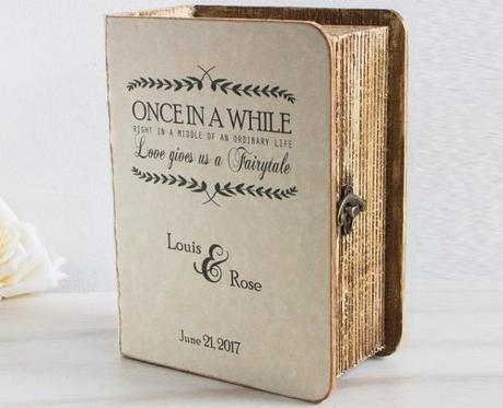 wedding card box book themed card box