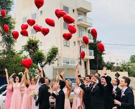 wedding party entrances ideas wedding party under balloons