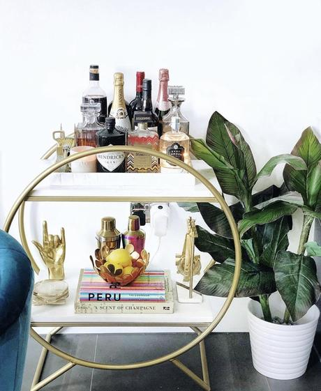 Gold drinks trolley styling with our gold rock on hand