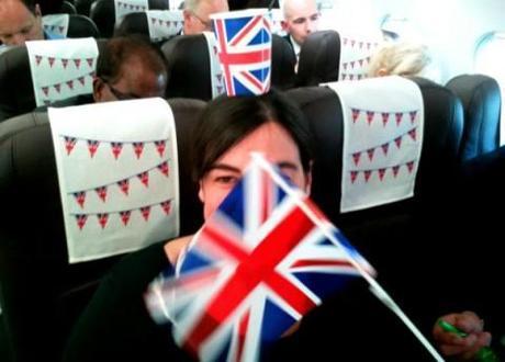 Queen's Jubilee Party on a BMI flight