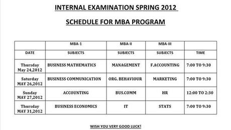 MBA-Internal Examination Spring 2012 of COMS North Nazimabad Karachi Pakistan a Preeminent College