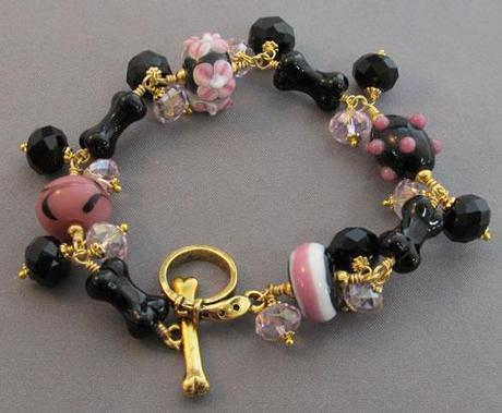 Dog Lover's Bracelet Pink Black Gold Artisan Jewelry: For Love Of A Dog