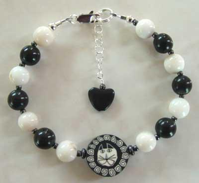Artisan Cat Bracelet: Black Onyx, Snow Quartz: For Love Of A Dog