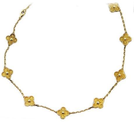 Van Cleef and Arpels Alhambra Gold Clover Necklace, van cleef arpels clover, van cleef arpels boca
