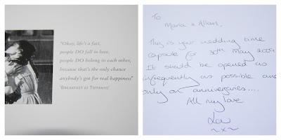 Card inside my wedding time capsule, from my maid of honour, explaining what the box and its contents are all about