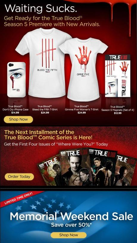 Special 50% off Memorial Day Sale on HBO Store (also on new True Blood Season 5 arrivals)