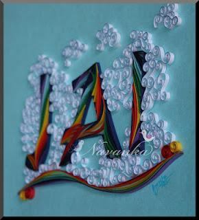 Rainbow in Clouds - Personalized Paper Quilling Typography Name Wall Art for Child's Room