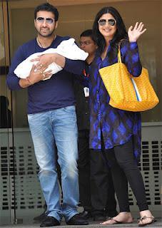 First Look: Shilpa, Raj take newborn son home