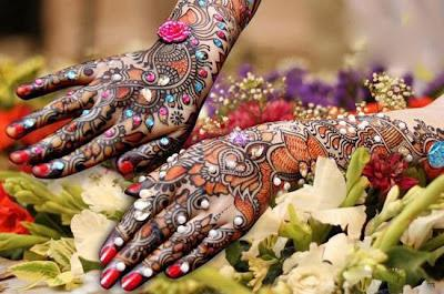 Latest Studded Stones Mehandi Art 2012 For Brides