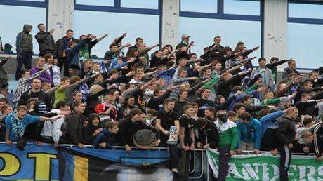 Hardcore football fans at the Metalist stadium in Kharkiv in Ukraine