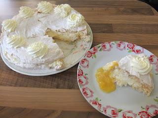 Apricot and Almond Meringue Gateau