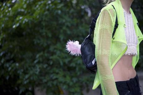 Street Style Love! That fluorescent, sheer jacket with that crop...
