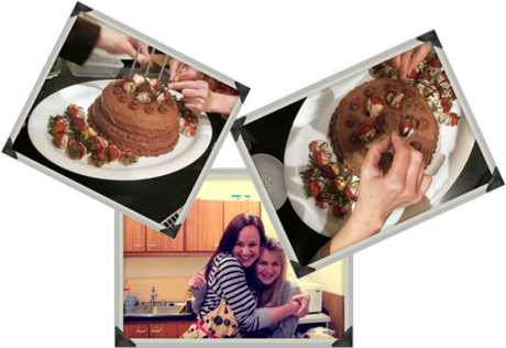 Pictures of me and my sister working on the cake