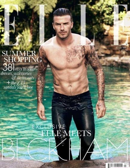 Be warned of drooling and HOT flashes : David Beckham first male to cover Elle.