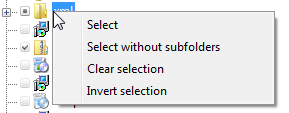 Context menu of Detwinner's folder tree