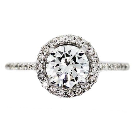 Halo Diamond Engagement Ring, Micropave Engagement Ring, Raymond Lee Jewelers