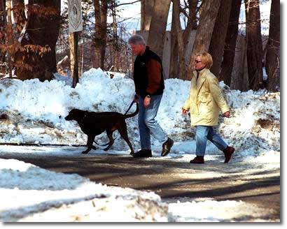 """This article about Bill and Hillary Clinton in Chappaqua, where I grew up, really touches my heart. Because as most people who live in the town know, the Clintons are very visible in the community. Bill goes in for sandwiches at the deli where my little brother worked. Hillary dresses up to vote at my high school. You see them at the movie theater, and at Starbucks. When he was President, they would shut down all of the highways leading into the town, and the media would flock in the thousands to the parking lot of our local grocery store. Today, his presence is quiet, marked by a Suburban at the end of his road. I see them the most walking on the road where my parent's live, usually hand in hand. People say the Clintons are only married for political reasons, but if you were to catch them in such a state, alone except for the team of Secret Service that trail them no matter where they are, you'd see their affection for one another. My favorite Bill Clinton moments are these: 1. Walking down the driveway with my two adopted sisters when they were babies, and running into Bill Clinton. """"Those are some beautiful girls you have there,"""" he told me. """"Thank you, Mr. President,"""" I said to him. 2. My little brother, only 6-years-old, engaging in a 25 minute conversation with him about tae kwon do competitions at the local fire station. 3. My mother and father walking behind them for awhile one winter morning. """"We saw the Clintons earlier today,"""" my mother told me later. """"Where?"""" my dad barked. """"We were walking behind them for like 10 minutes. You said hi to them,"""" my mother told him. """"That was the Clintons?!"""" my dad barked. That's when I knew he was getting old. I hope that they don't move out of Chappaqua. (And as a side note, this picture, which I pulled off Google, was taken at a diagonal to my parent's driveway. The town recently condemned the house behind them, a modern sort of shamble, I assume for being an eyesore.)"""