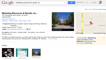 Marketing Resources & Results page before Google + Local