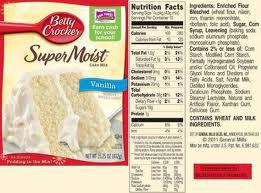 Betty Crocker Golden Vanilla Super Moist Cake Mix Nutrition