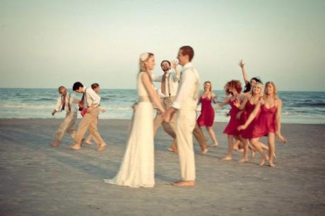 casey & john beach wedding bridal party