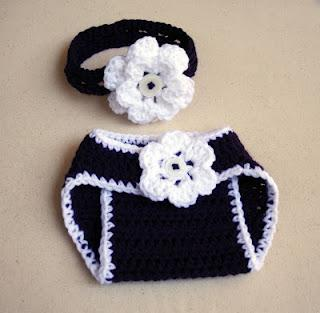 My Latest Crochet Projects:  Sock Monkey Hat & Diaper Cover Set and Floral Diaper Cover & Headband Set