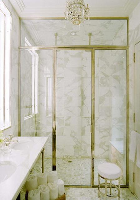 Nathan Egan bahtroom carrera marble chandelier brass