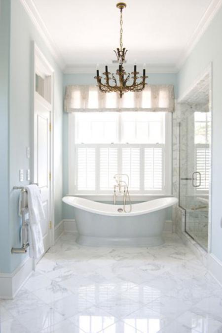 Regina Garcia bathroom carerra marble chandelier