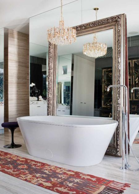 bathroom travertine mirror chandelier kilim rug